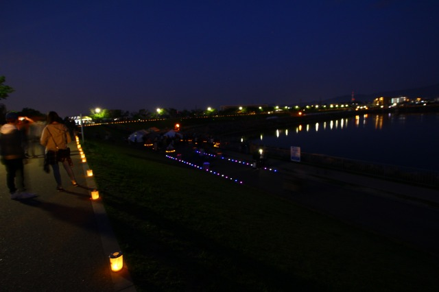 日本最古のため池で行われた【狭山池まつり 2017】の灯火輪です。